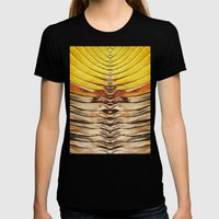 Palm Frond Leaf Macro Womens Fitted Tee Black SMALL