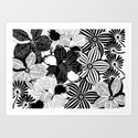 Flowers black & white serie 2 Art Print
