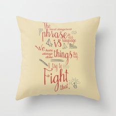 Grace Hopper sentence - I always try to Fight That - Color version Throw Pillow