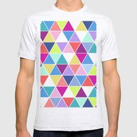 Multi Colour Triangle; Mens Fitted Tee Ash Grey SMALL