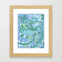 Abstract Animals - Blue and Green  Framed Art Print