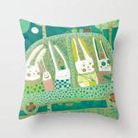 Rabbit Journey Throw Pillow