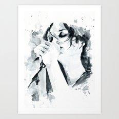 Brian Molko (breathing in) Art Print