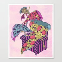 Pizza Eating Pizza - Pink Edition Canvas Print