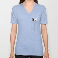 Unisex V-Neck featuring Pocket French Bulldog - … by Anne Was Here