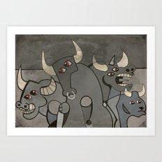Four Bulls Art Print