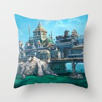 -City on the Big Bridge- Throw Pillow