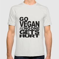 GO VEGAN AND NO ONE GETS HURT Mens Fitted Tee Silver SMALL