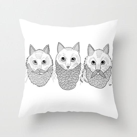 Cats With Beards Throw Pillow