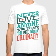 Never Ordinary - Oscar Wilde Mens Fitted Tee SMALL White