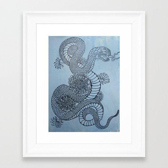 snake in the garden Framed Art Print