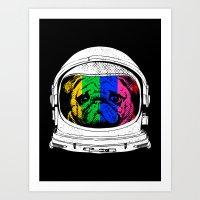 Astronaut Pug Art Print