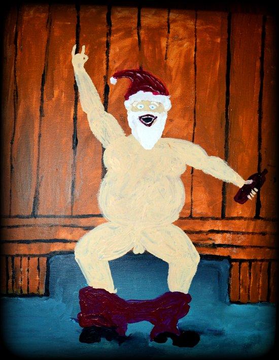 Merry Santa in Sauna Art Print