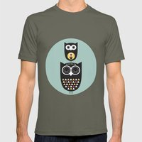 Owl décor - modern nursery art - geometric pattern Mens Fitted Tee Lieutenant SMALL