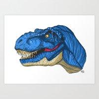 Felling Blue T-Rex - Dinosaur  Art Print