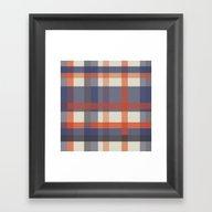 Orange And Blue Stripes Framed Art Print