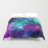 Purple Pink Blue Nebula Duvet Cover