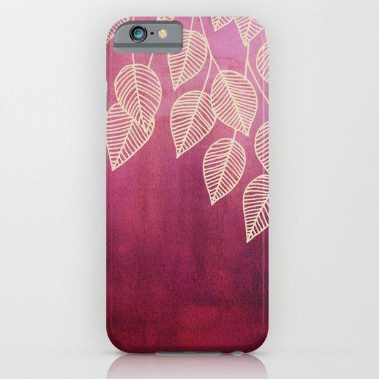 Magenta Garden - watercolor & ink leaves iPhone & iPod Case