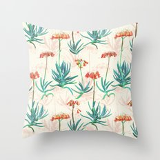Flowering Succulent Pattern in Cream, Coral and Green Throw Pillow