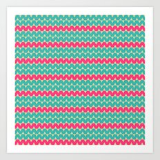 Blue & Pink Geometric Zig-Zag Pattern Art Print