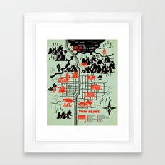 Twin Peaks Map Framed Art Print