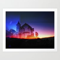 victorian house sunrise Art Print