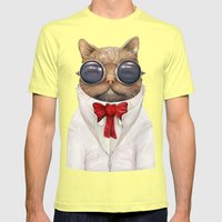 Astro Cat Mens Fitted Tee Lemon SMALL