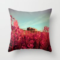 Early morning, Bamburgh castle Throw Pillow