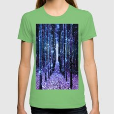 Magical Forest Turquoise Purple Womens Fitted Tee Grass SMALL