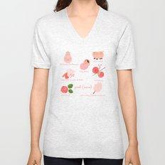 Colors: pink (Los colores: rosa) Unisex V-Neck