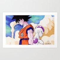 Goku vs Frieza Ballpoint Pen Drawing  Art Print