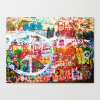 Lennon Wall - All You Need Is Love - Peace Canvas Print