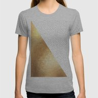 Gold And Polka Dots Womens Fitted Tee Athletic Grey SMALL