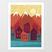 mountains Art Prints featuring Mountains by Kakel