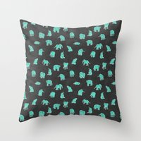 Indian Baby Elephants Bl… Throw Pillow