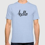 Hello Mens Fitted Tee Athletic Blue SMALL