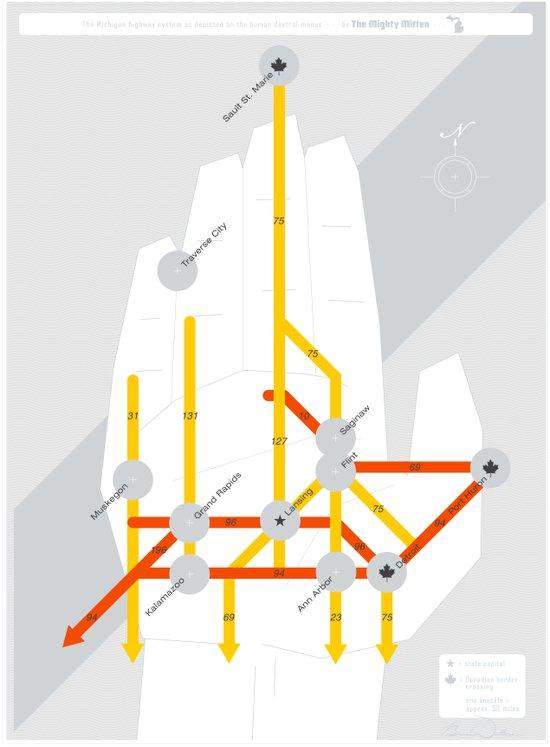 The Michigan Highway System Art Print