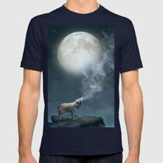 The Light of Starry Dreams (Wolf Moon) Mens Fitted Tee Navy SMALL