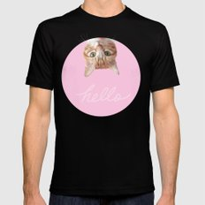 THIS IS THE WAY CAT SAYS HELLO 2 SMALL Black Mens Fitted Tee