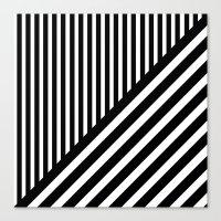 Black And White Diagonal… Canvas Print