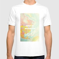What a Wonderful World Mens Fitted Tee White SMALL