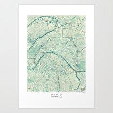 Paris Map Blue Vintage Art Print