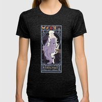 Amalthea Nouveau - The Last Unicorn Womens Fitted Tee Tri-Black SMALL