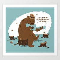 Brown Bear Blues Art Print