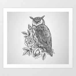 Art Print - Owl with flowers - UniqueD