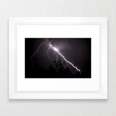 Lightning Over Trees Framed Art Print