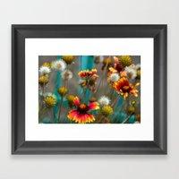 Fiery Flowers Framed Art Print