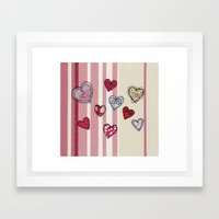 Embroidered Heart Illustration Framed Art Print