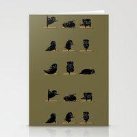 Black Pug Yoga Stationery Cards