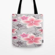 Pink Floral On Grey Tote Bag